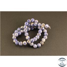 Perles semi précieuses en jaspe cornflower - Rondes/8 mm - Bleu