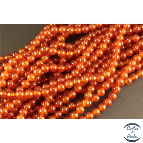 Perles semi précieuses en agate - Rondes/8 mm - Rouge Orangé