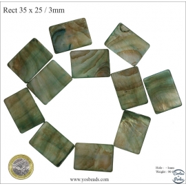 Perles en Nacre - Rectangle/32 mm - Vert