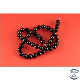 Perles semi précieuses en agate - Rondes/8 mm - Noir - Grade A