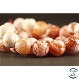 Perles semi précieuses en agate - Rondes/10 mm - Fire brick