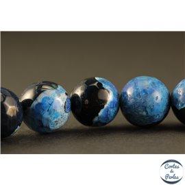 Perles semi précieuses en agate - Rondes/10 mm - Noir et bleu