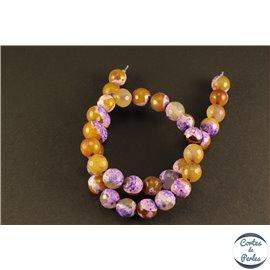 Perles semi précieuses en agate - Rondes/10 mm - Violet et jaune