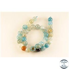 Perles semi précieuses en agate - Rondes/10 mm - Bleu pastel