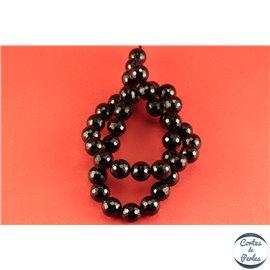 Perles semi précieuses en agate - Rondes/10 mm - Noir