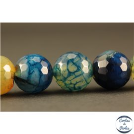 Perles semi précieuses en agate - Rondes/12 mm - Bleu sarcelle