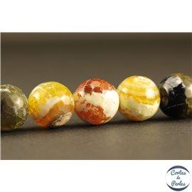 Perles semi précieuses en agate - Rondes/12 mm - Jaune et vert