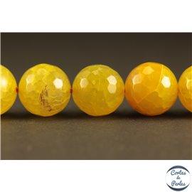 Perles semi précieuses en agate - Rondes/12 mm - Jaune canari