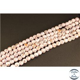 Perles semi précieuses en agate - Rondes/8 mm - Rose pâle