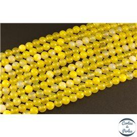 Perles semi précieuses en agate - Rondes/8 mm - Jaune canari