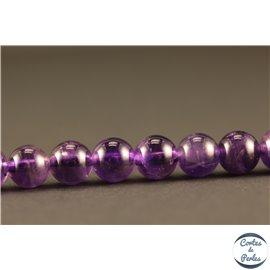 Perles semi précieuses en améthyste - Rondes/6 mm - Dark - Grade AB