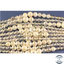 Perles semi précieuses en cristal crack - Rondes/7,5 mm - Nacré - Grade AB