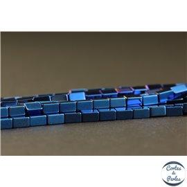 Perles semi précieuses en hématite - Rectangles/4 mm - Bleu