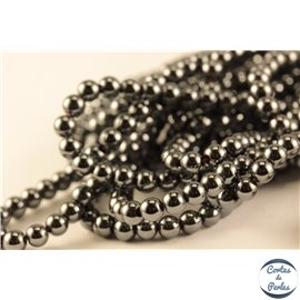 Perles semi précieuses en hématite - Rondes/4 mm - Noir