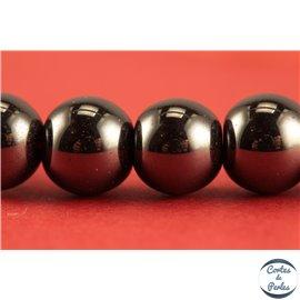 Perles semi précieuses en hématite - Rondes/8 mm - Noir