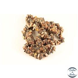 Perles semi précieuses en jaspe léopard - Pépites/5 à 8 mm - Rose