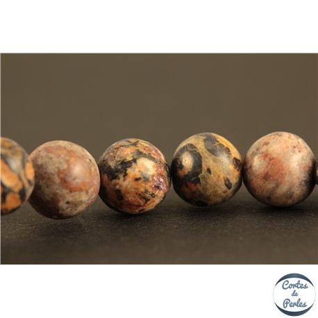 Perles semi précieuses en jaspe léopard - Rondes/6,5 mm