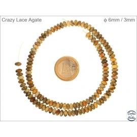 Perles semi précieuses en Agate - Roue/6 mm - Jaune