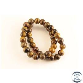 Perles semi précieuses en œil de tigre - Rondes/10 mm - Marron