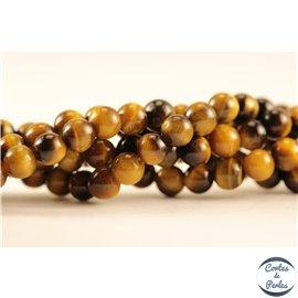 Perles semi précieuses en œil de tigre - Rondes/4 mm
