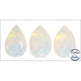 Perles facettées en verre - Gouttes/9 mm - Pierre de Lune