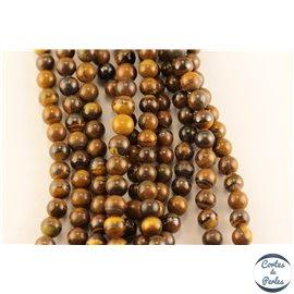 Perles semi précieuses en oeil de tigre - Rondes/6 mm - Grade AB+