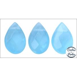 Perles facettées en verre - Gouttes/9 mm - Bleu ciel