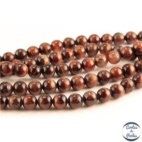 Perles semi précieuses en œil de tigre - Rondes/8 mm - Maroon