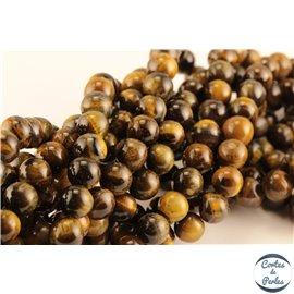 Perles semi précieuses en oeil de tigre - Rondes/8 mm - Grade AB+