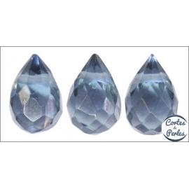 Perles facettées en verre - Gouttes/9 mm - Bleu nuit