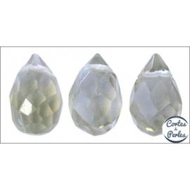 Perles facettées en verre - Gouttes/9 mm - Gris translucide