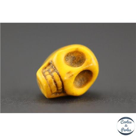 Perles semi précieuses en howlite - Skull/12 mm - Camel