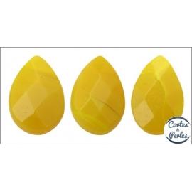 Perles facettées en verre - Gouttes/9 mm - Jaune canari