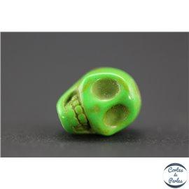 Perles semi précieuses en howlite - Skulls/9 mm - Lime green