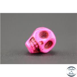 Perles semi précieuses en howlite - Skulls/9 mm - Fuschia