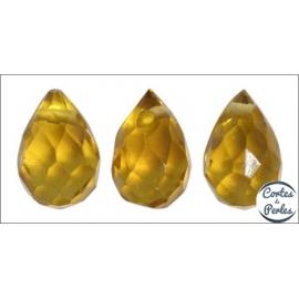 Perles facettées en verre - Gouttes/9 mm - Ambré