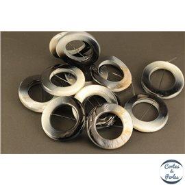 Perles en Nacre - Cercles/35 mm - Noir et Blanc