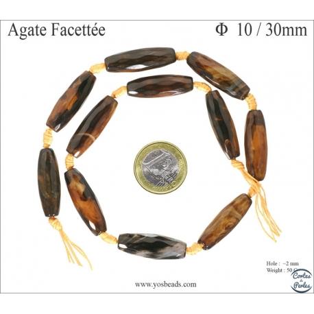 Perles semi précieuses en agate - Tube/10 mm - Fauve