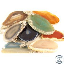 Lot de 5 pendentifs en agate - Chips/50 mm - Multicolore