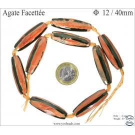 Perles semi précieuses en agate - Tubes/12 mm - Flamme