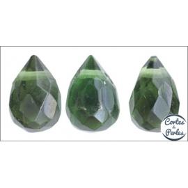 Perles facettées en verre - Gouttes/9 mm - Vert sapin