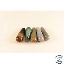 Lot de 5 pendentifs en agate - Gouttes/40 mm - Multicolore