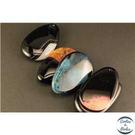 Lot de 5 pendentifs en agate - Gouttes/53 mm - Multicolore