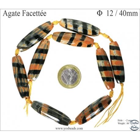 Perles semi précieuses en Agate - Tube/12 mm - Flamme Zébrée