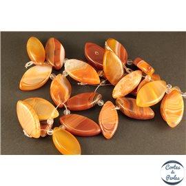 Lot de 5 pendentifs en agate - Ellipses/27 mm - Orange