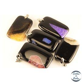 Lot de 5 pendentifs en agate - Rectangles/53 mm - Multicolore