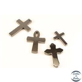 Lot de 5 pendentifs en hématite - Croix/30 mm