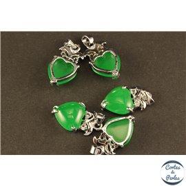 Lot de 5 pendentifs en malaysian jade - Coeurs/21 mm