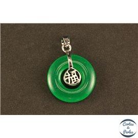 Lot de 5 pendentifs en malaysian jade - Disques/22 mm