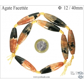 Perles semi précieuses en Agate - Tube/12 mm - Noir/Flamme